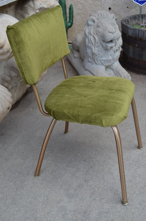 1960s Gold Metal Amp Green Velvet Vintage Kitchen Chair