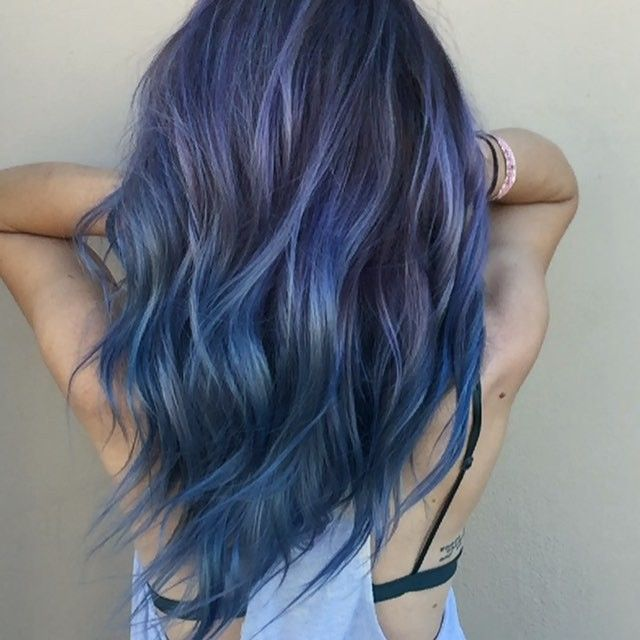 Long black hair with blue ombre dresses