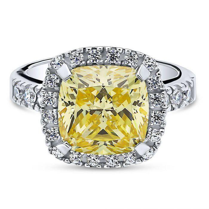 c762947ff5128 A Perfect 5.8CT Cushion Cut Canary Yellow Fancy Russian Lab Diamond ...