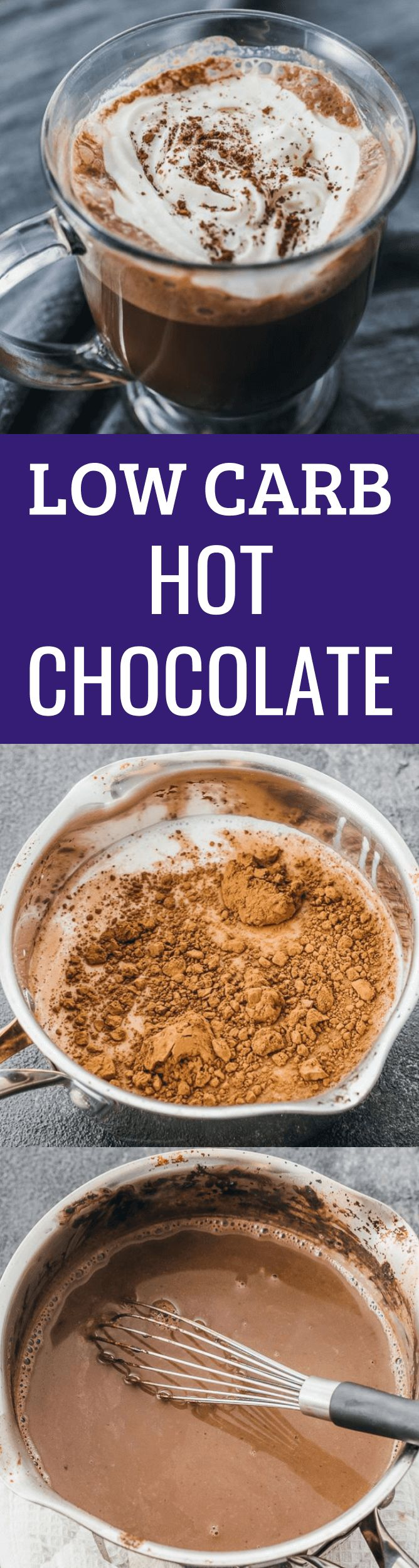 This low carb hot chocolate is the perfect treat for cold mornings, and ideal for a keto, clean eating, Atkins, or healthy diet. It's made using almond milk and heavy cream, with unsweetened cocoa, cinnamon, and a sugar free sweetener instead of honey/maple syrup. You can also sub with stevia. You can top this drink with whipped cream, and it's so simple, fun, and easy to customize to your liking. It's also a great recipe to make with kids and friends during the holidays! #keto...
