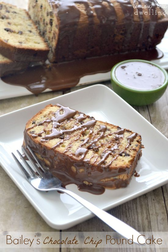 Bailey's Chocolate Chip Pound Cake w/Chocolate Bailey's Drizzle.......oh my!