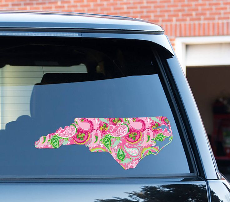 Home State Car Decal Lilly Inspired Car Stickers Car Decor Cute Car Accessories Car Decals Vinyl Decal For Yeti North Carolina State by ChicMonogram on Etsy