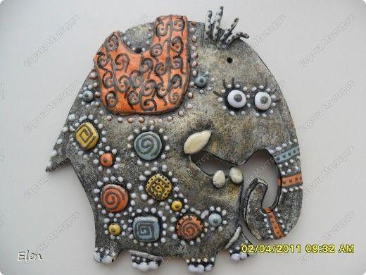 Картина панно рисунок Лепка Роспись 9 слонов соленое тесто Гипс Тесто соленое фото 4