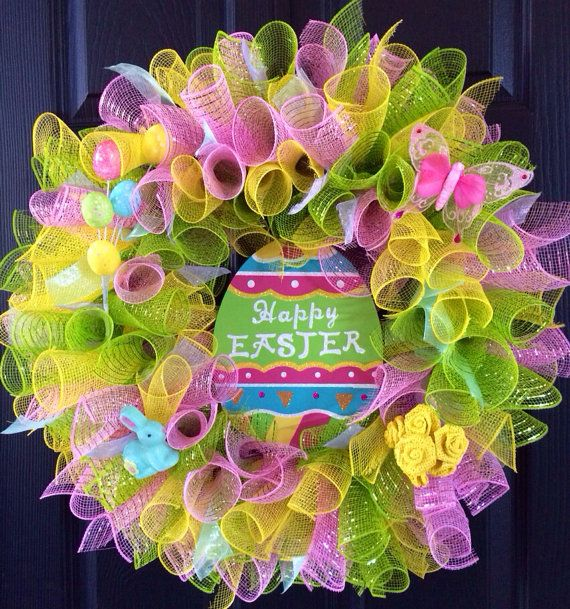 Easter Deco Mesh Wreath with Bunny on Etsy, $45.00