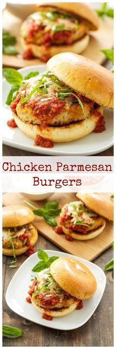 Chicken Parmesan Burgers   Classic chicken parmesan turned into a delicious burger!