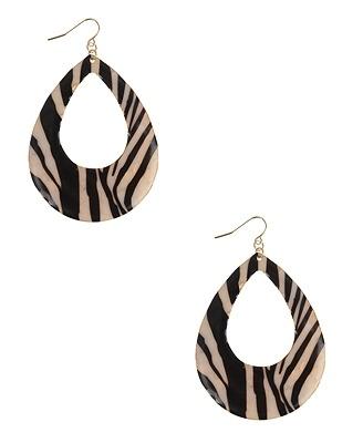 Zebra Teardrop Earrings - New Arrivals - 1058635165 - Forever21 - StyleSays