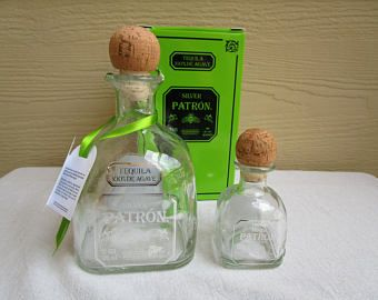 Patron Silver Tequila Bottles, one Empty 375 ml, one empty 50 ml, both with Corks, labels, for upcycle, repurpose, recycle, glass cutting