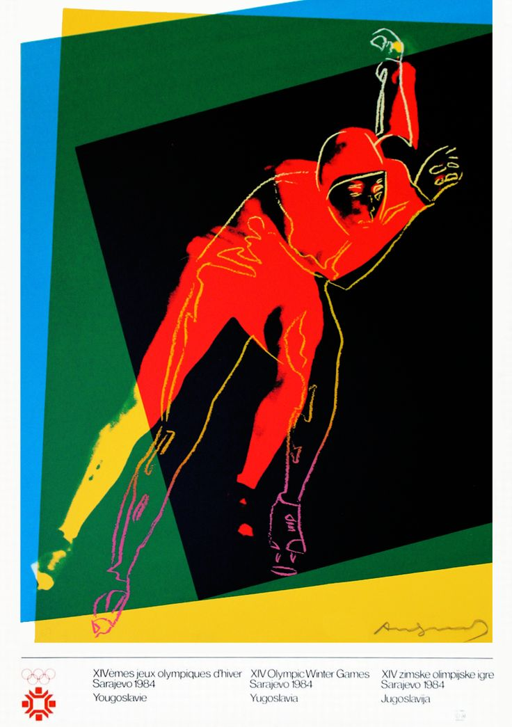 Andy Warhol's specially commissioned poster for 1984 Winter Olympic Games Sarajevo   Speed Skater, 1983 Screenprint, in colors 33.5 х 25.5 in. (85.09 x 64.77 cm.)