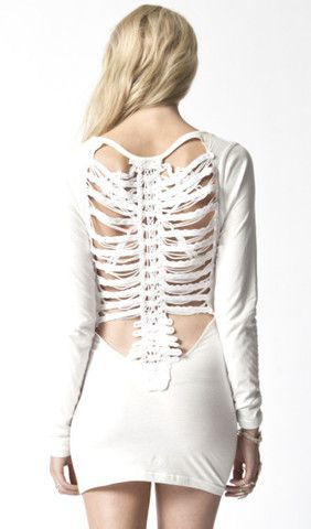 Premonition Designs — Vertibrae Back Body Con Dress - Ivory ($50-100) - Svpply
