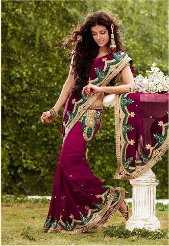 Wine color shaded saree – Panache Haute Couture