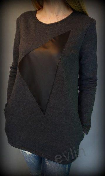 Ciepła bluza z kieszeniami z naszytym trójkątem  w evlin na DaWanda.com