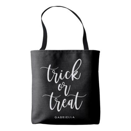 White Script Trick Or Treat Tote Bag - Halloween happyhalloween festival party holiday