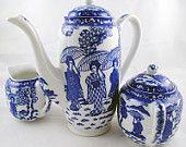 FREE SHIPPING Art Deco 1940s Cobalt Blue and White Lithophane Geisha Tea Set Vintage Asian Home Decor