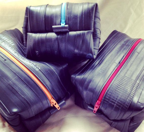 Wash, DOPP, toiletries bag, - recycled bicycle inner tubes - upcycled vegan bike - choose your zip colour
