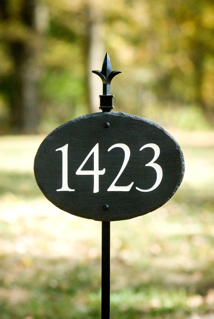 Stone house numbers address plaque lawn stake carved - House number signs for yard ...