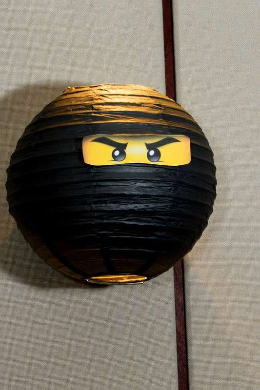 Paper lantern decoration at a Lego Ninjago birthday party! See more party planning ideas at CatchMyParty.com!