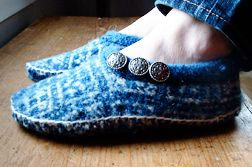 Upcycled felted wool slippers from old sweaters..