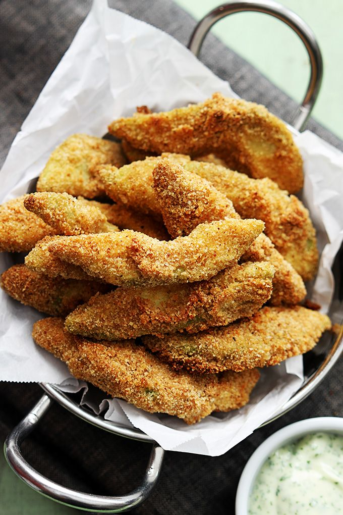Crispy oven-baked avocado fries with a quick cilantro lime dipping sauce!