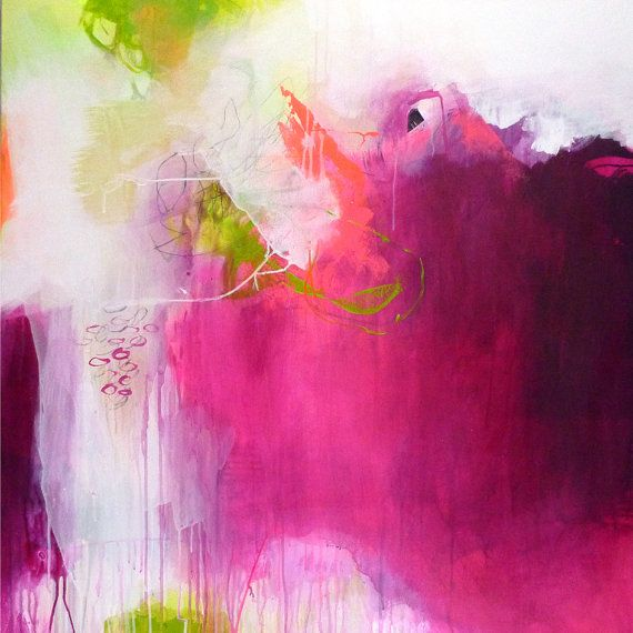 Original Large Abstract Painting Art Modern Magenta Bordeaux Green Neon Pink Rose Paintings Acrylic C
