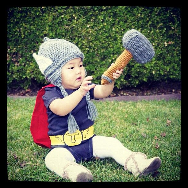 Baby Girl Thor Costume Hammer Impossibly Cute