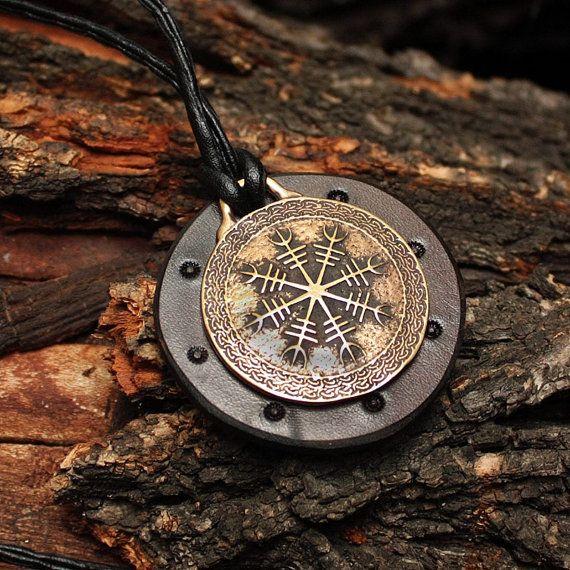 Bronze Helm of Awe Aegishjálmur Vikings Icelandic Amulet Nordic Runic Pendant Talisman Necklace