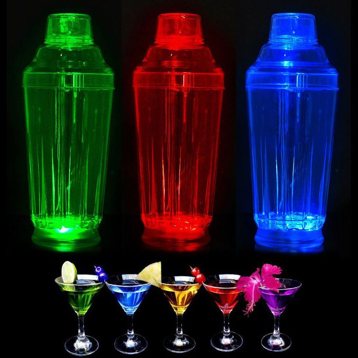 Colour Changing Led Strobing Cocktail Mocktail Shaker Maker Bar Party Bbq