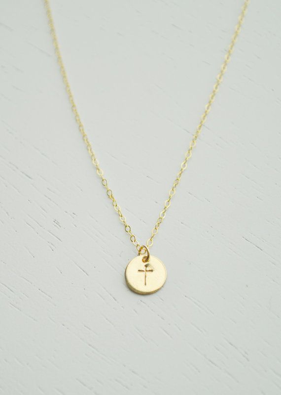 Gold Cross Necklace  small hand stamped gold disc on dainty chain by adenandclaire