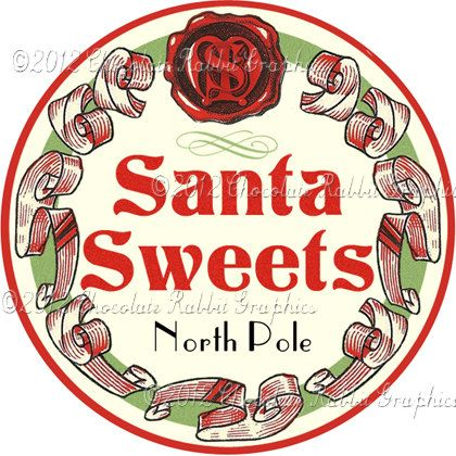 Vintage Christmas Candy Label Digital Download by chocolaterabbit, $2.25
