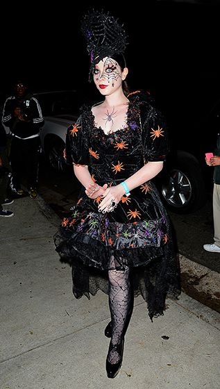 Michelle Trachtenberg looked like the Queen of Halloween in her spooky, spidery costume.