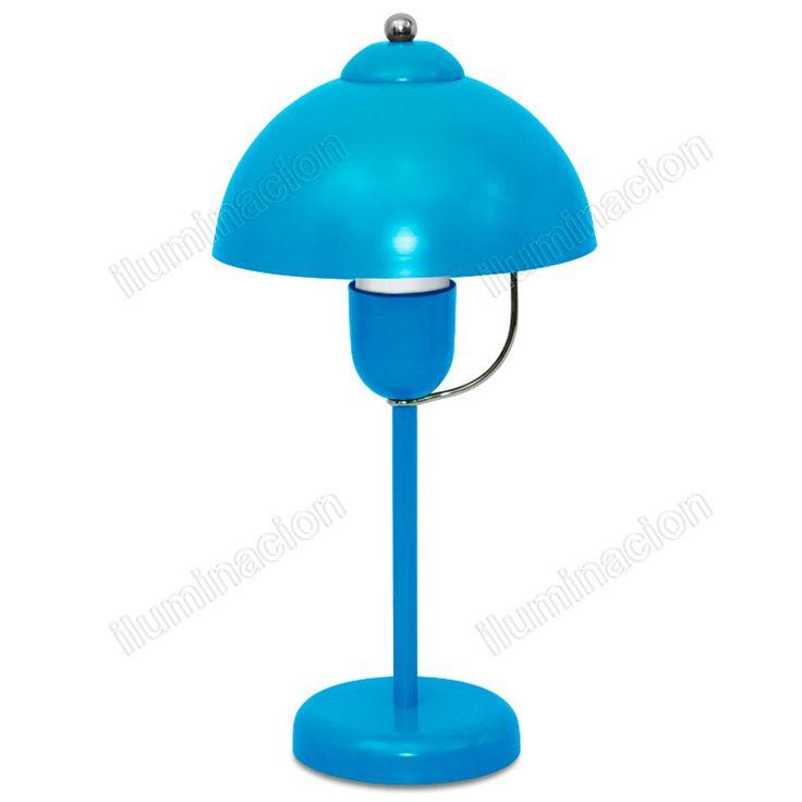 Velador GEO: Velador decorativo de una luz fabricado con cuerpo de chapa metálica acabada en pintura de color e interior blanco.  Iluminación de interior. Velador metálico.