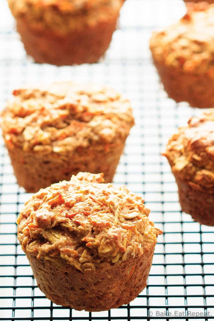Healthy Carrot Zucchini Muffins - Healthy carrot zucchini muffins that make a hearty snack filled with veggies and whole grains that the kids will love!