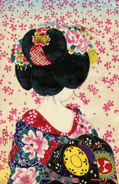 Sakura Fubuki - Shower of Cherry Blossoms 1940s    This is a Japanese Woodblock print postcard from around the 1940s, showing the back view of a Maiko girl (Apprentice Geisha) with the Ware-shinobu hairstyle, which is worn by junior Maiko during their initial period of trainin