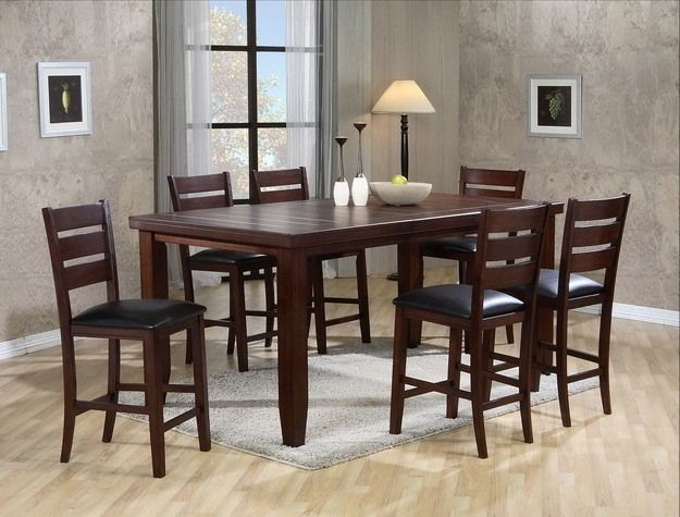 Crown Mark 7 Pc Bardstown Dark Wood Finish Counter Height Dining Table Set With Vinyl Upholstered Chairs This Features Seats And A