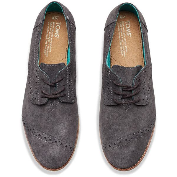 fb491d615901 Dark Grey Suede Women's Brogues | TOMS ($98) ❤ liked on Polyvore featuring  shoes, oxfords, dark grey shoes, toms brogues, suede brogue shoes, suede  oxfords ...