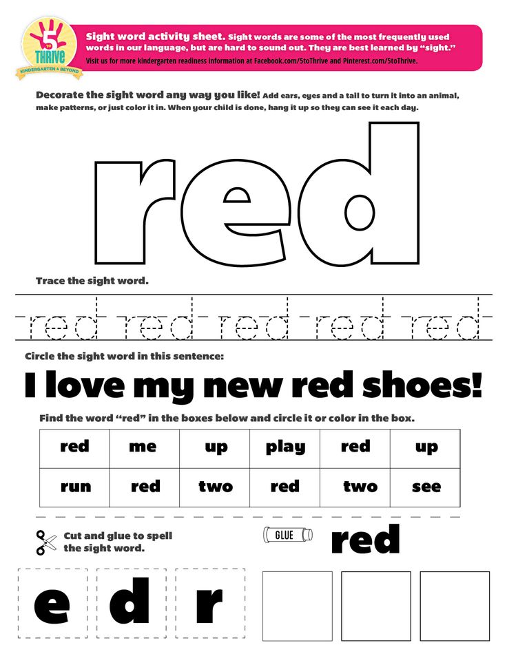 """The sight word this week is """"red"""". Sight words are some of ..."""
