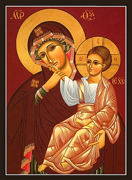 Orthodox icon of St. Ann with the child, Our Blessed Mother Mary