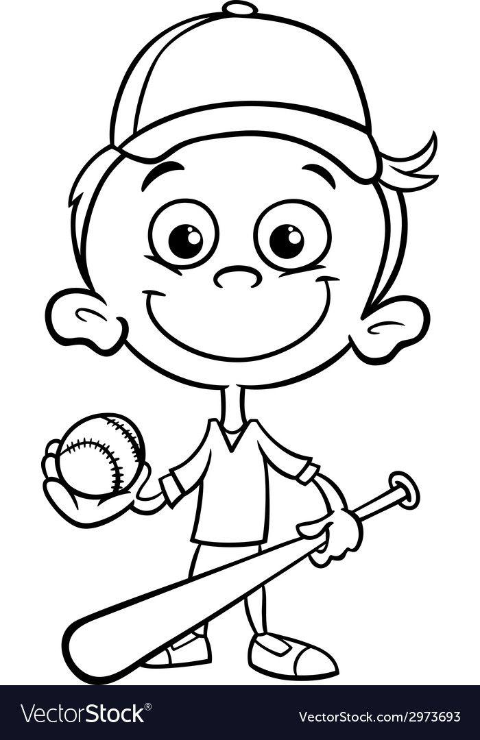 Boy Baseball Player Coloring Page Vector Image On Baseball