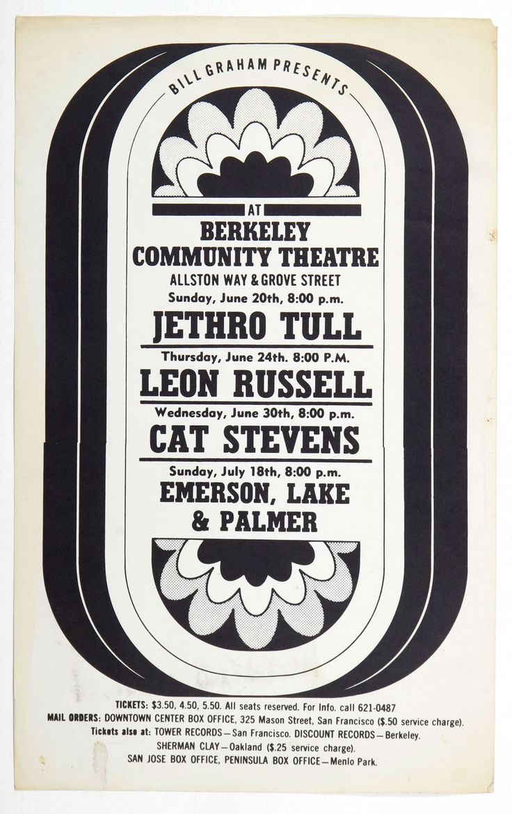 BIll Graham Presents Poster 1971 Jethro Tull Cat Stevens Berkeley Community Theatre