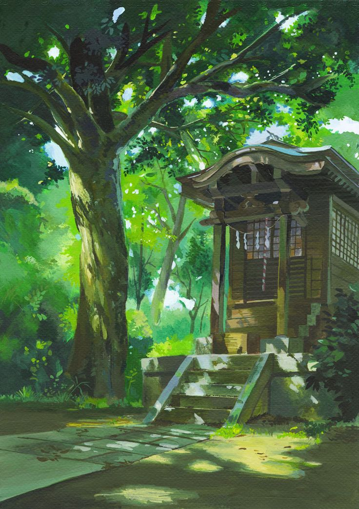 Whisper of the Heart   Hiiragi Aoi   Studio Ghibli / Background Drawing / 「神社(耳をすませば)」/「古本ゆうや」のイラスト [pixiv]