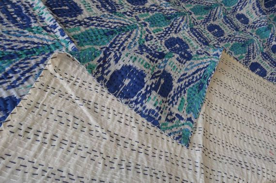 this is a natural vegitable dyed handmade kantha quilt.made with 100% cotton. It can be use as a bed cover,bedspread,quilt,wall decor,picnic&beach throw etc  1. Bedspread , Bedding Throw , Blanket Or Quilt 2. A Summer Bed Cover 3. A Fabulous Picnic Rug 4. Nice Bedroom Quilt ,  This can fit to a 90 x 108 inchs wide King size bed as blanket or throw or can easily fit as bedspread / bed cover to King bed .  Washing Instruction – Easy To Hand Wash & Dry Clean.