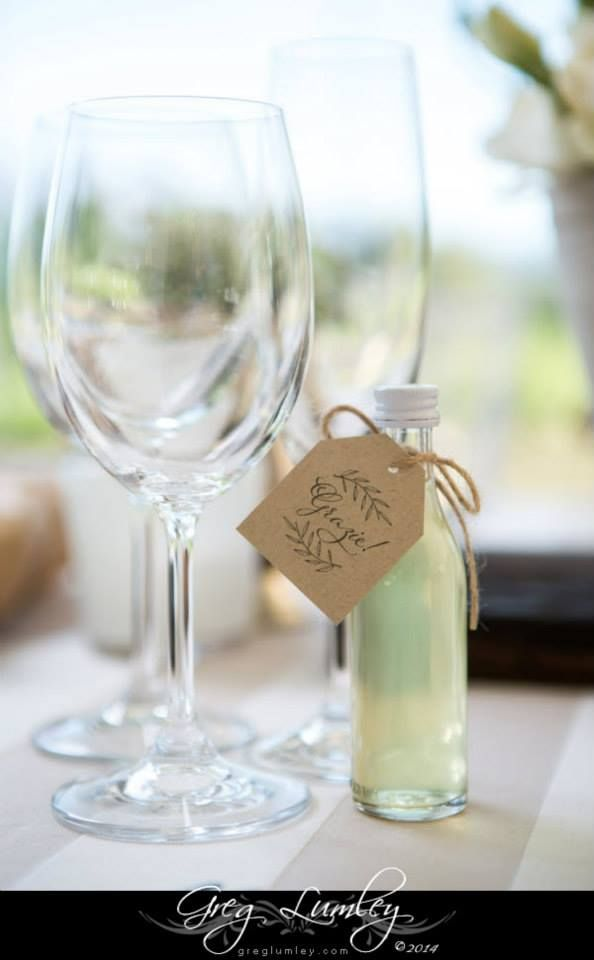 Lemoncello wedding favours at an italian inspired wedding at Vrede en Lust. Co ordination,  Decor & styling by i do box