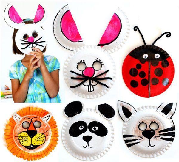 pappeteller Tiermasken mit Kindern basteln