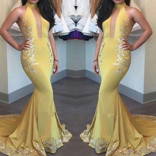 2017 Yellow Keyhole High-Neck Appliques Mermaid Beautiful Evening Dress