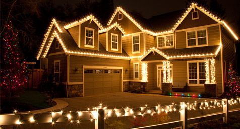 Exterior Christmas Lights. Very similar to our house. Love the bright C9 Christmas lights with mini lights wrapped around posts.