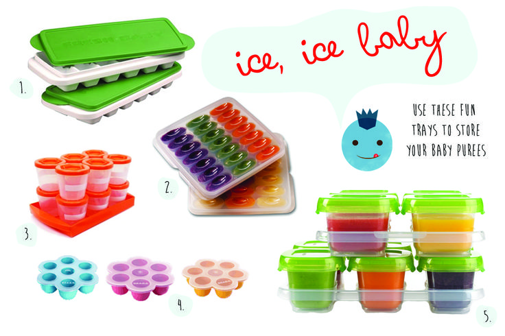 1- Fresh Baby Food Trays [freshbaby.com]  2- Mumi & Bubi Food Freezer  Storage Trays [mumiandbubi.co.uz]  3- Sprout Cups Baby Food Containers  4- BEABA Multiportions [beabausa.com]  5- OXO 12 Piece Baby Blocks Set  [oxo.com]