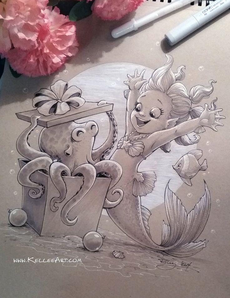 Mermaid Christmas by KelleeArt on DeviantArt  White on tinted paper
