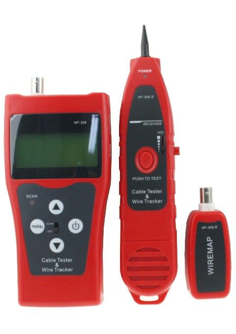Cable Tester Komplit NF-308  MULTIPURPOSE CABLE TESTER DIGITAL NF-308  Introduction: NF-308 multipurpose network cable test & inspection instrument is composed of tester (NF-308), receiver (NF-838-R) and remote identifier. The new instrument is provided with fluent appearance, excellent hand feel and considerate human-centered design. It owns three great functions of hunting, wire sorting and circuit status testing and the features of quickness and accuracy, thus, it becomes available tool…