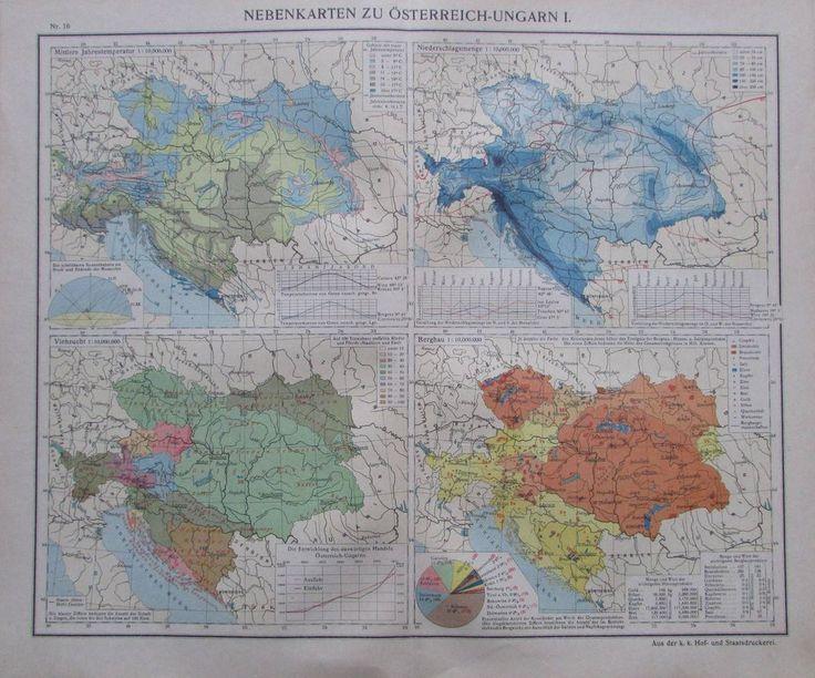 Nebenkarten zu Österreich-Ungarn I. - 35x29cm Karte aus 1913 old map