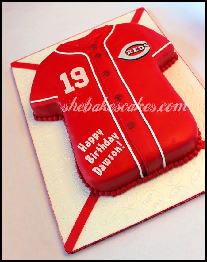 Image detail for -Cincinnati Reds Baseball Jersey fondant cake