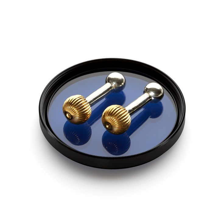 Gold plated sterling silver 'Uranus' push-through cufflinks. Part of the Roderick Vere Planetary Collection.